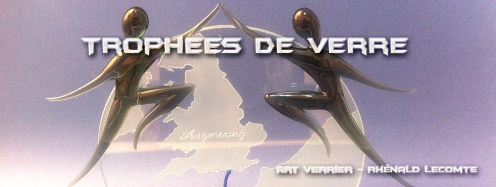 Trophées en verre – Trophée Jumelage 40 ans Ouistreham Riva bella - Angmering West Sussex - Art Verrier - La Gacilly