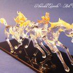 Trophée cheval en verre - Sculpture 2016 - Trois chevaux en verre plein façonnés au chalumeau - Art Verrier