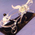 Trophée cheval en verre - Trophée sculpture 2016 - Sulky en verre plein façonné au chalumeau - Art Verrier