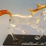 Trophée cheval en verre - Trophée d'art 2019 - Cheval en verre plein façonné au chalumeau - Art Verrier