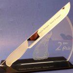 Trophée Excellence - Interbev Bretagne 2017 - 2ème Prix - Concours national féminin Quimper - Trophée d'art en verre découpé et sablé - Couteau sculpté posé en diagonale - Multiples marquages personnalisés