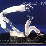Trophée sculpture judo 2015 - Judokas en verre – Temps fort vie d'un judoka - 4ème Dan - Socle en verre noir avec marquage personnalisé - Art Verrier