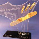 Trophée boulangerie - Trophée d' excellence Baguette d'or - Artisan - Création d'art artisanale en verre - 2016 - Art Verrier - La Gacilly