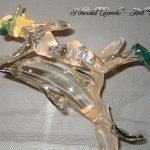 Trophée d'art - Trophée sculpture en verre - Plongeuse avec palmes accompagnée d'un dauphin - Création 2002 - Rhénald Lecomte - Art Verrier