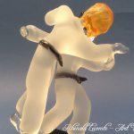 Trophée d'art judo - Judokas sculptés en verre - Traitement verre satiné – verre transparent - Rhénald Lecomte - Art Verrier