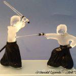 Trophée arts martiaux - Trophée d'art kendo - Création 2019 - Sculptures en verre - Rhénald Lecomte - Art Verrier