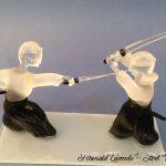 Trophée arts martiaux - Trophée d'art kendo - Création 2019 – Sculptures en verre - Rhénald Lecomte - Art Verrier