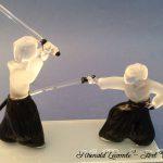 Trophée d'art kendo - Sculptures en verre réalisées au chalumeau - Rhénald Lecomte - Art Verrier