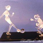 Trophée sport féminin – Football – Footballeuses sculptées en verre - Traitement verre satiné - verre transparent - Art Verrier