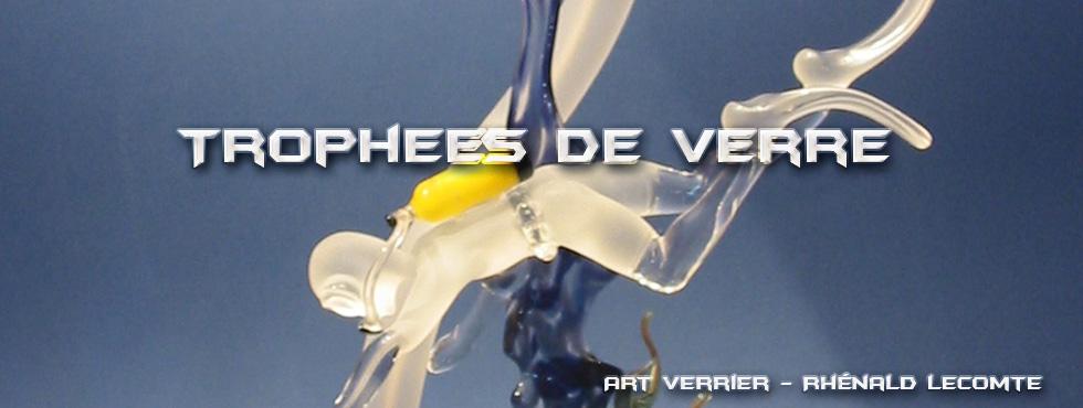 Trophées passion plongée en verre - Sculptures plongeurs et randonneurs palmés en verre