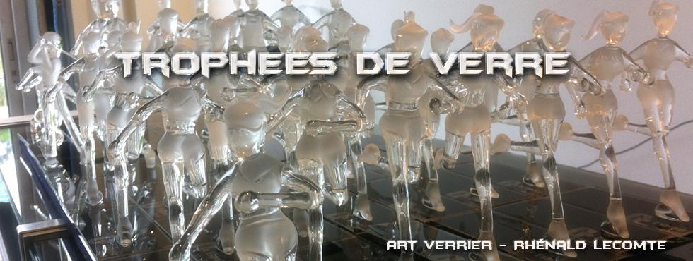 Trophée d'art sport féminin en verre - Trophée sculpture runnning en verre