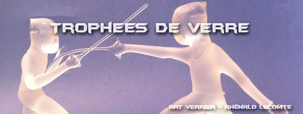 Trophée sculpture escrime en verre - Trophée d'art - Art Verrier